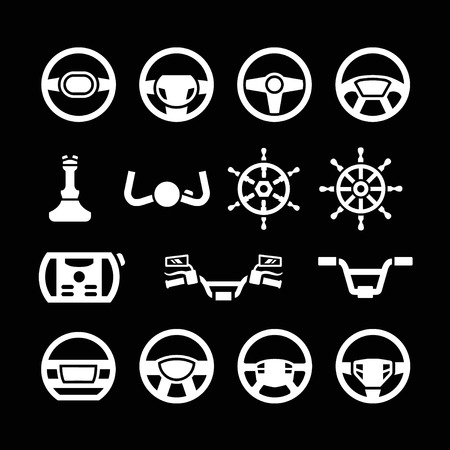 handlebar: Set icons of steering wheel, marine steering, helm, bicycle and motorcycle handlebar isolated on black Illustration