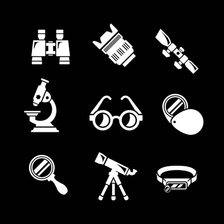 Set icons of optics equipment isolated on black Vector