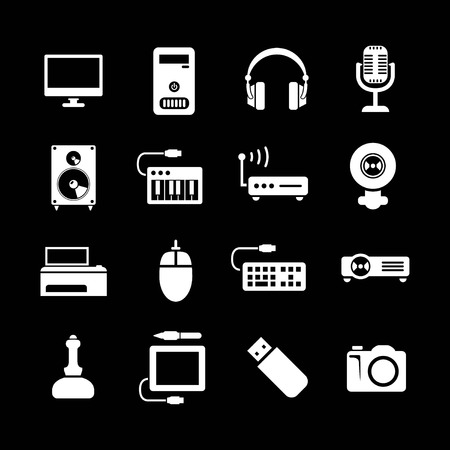 lcd monitor printer: Set icons of PC and electronic devices isolated on black
