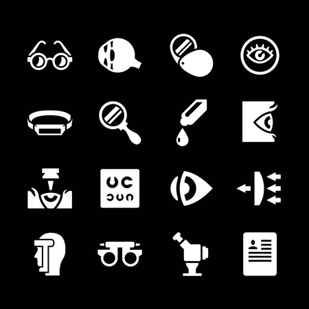 contact lens: Set icons of ophthalmology and optometry isolated on black Illustration