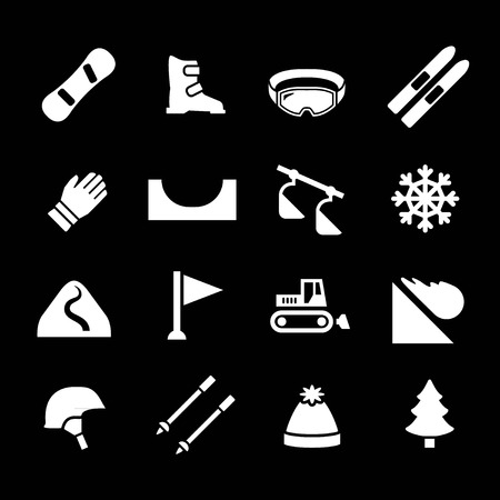 avalanche: Set icons of skiing and snowboarding isolated on black