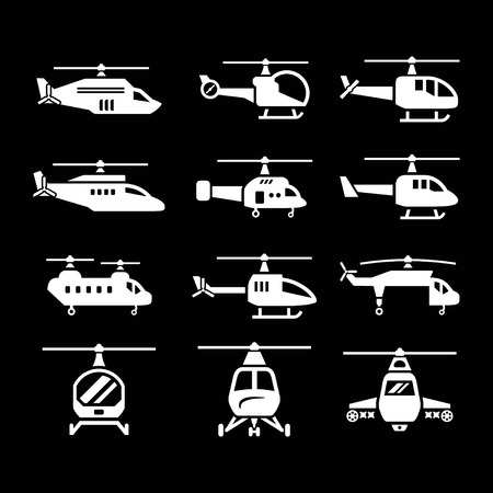 military helicopter: Set icons of helicopters isolated on black