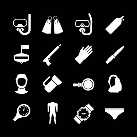 Set icons of diving isolated on black Vector