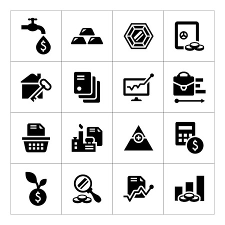 safe investment: Set icons of investment and finance isolated on white Illustration