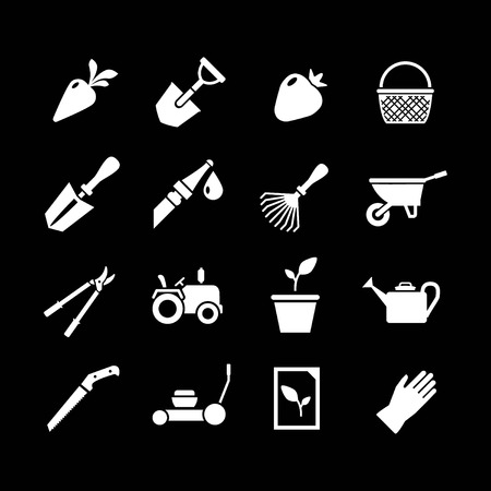 Set icons of garden isolated on black Vector