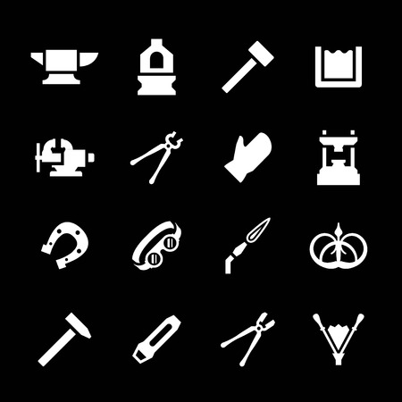 forge: Set icons of forge isolated on black Illustration
