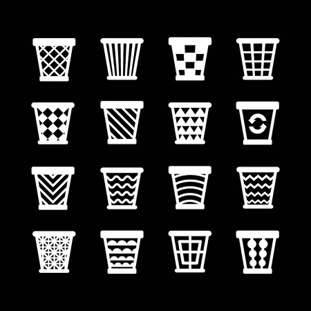 dispose: Set icons of trash basket. Garbage can for recycle isolated on black Illustration