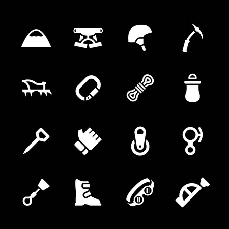Set icons of mountaineering isolated on black