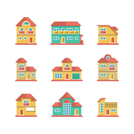 Set flat icons of houses and buildings isolated on white Vector