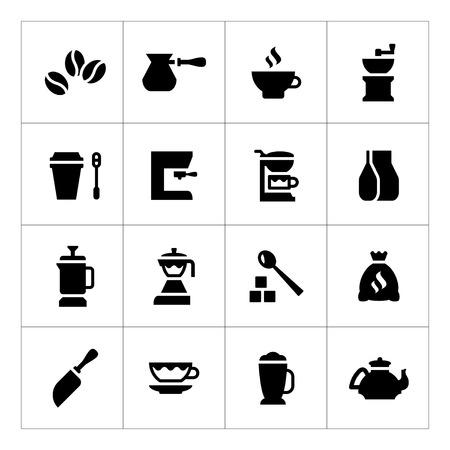 Set iconen van koffie op wit wordt geïsoleerd Stock Illustratie