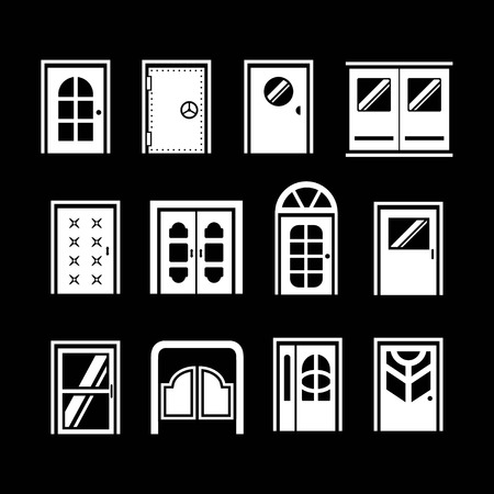 architectural elements: Set icons of doors isolated on black