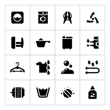 Set iconen van wasgoed op wit wordt geïsoleerd