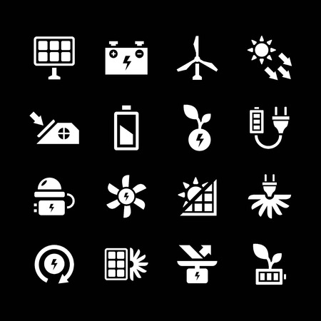sources: Set icons of alternative energy sources isolated on black Illustration