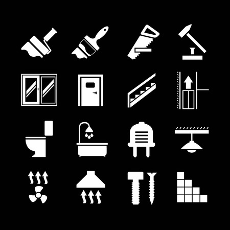 Set icons repair and building isolated on black Vector