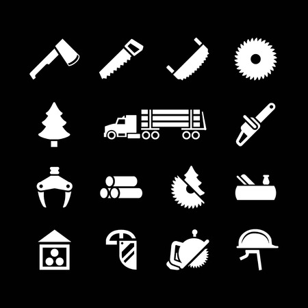 woodcutter: Set icons of sawmill, timber, lumber and woodworking isolated on black Illustration