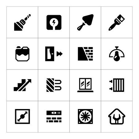 Set iconen van de reparatie en de bouw op wit wordt geïsoleerd