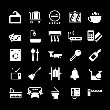Set icons of hotel, hostel and rent apartments isolated on black Vector