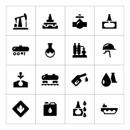 Set icons of oil industry isolated on white Vector
