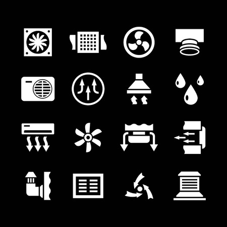 Set icons of ventilation and conditioning isolated on black Illustration