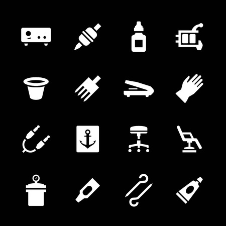 Set icons of tattoo equipment and accessories isolated on black Vector