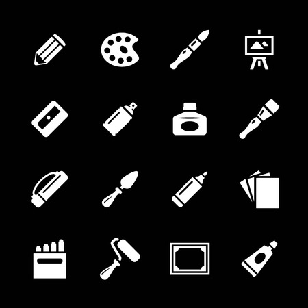 Set icons of art isolated on black Vector
