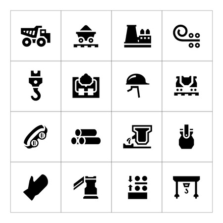 Set icons of metallurgy isolated on white Vector