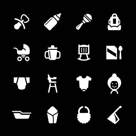 teteros: Fije los iconos del bebé recién nacido aislado en negro Vectores