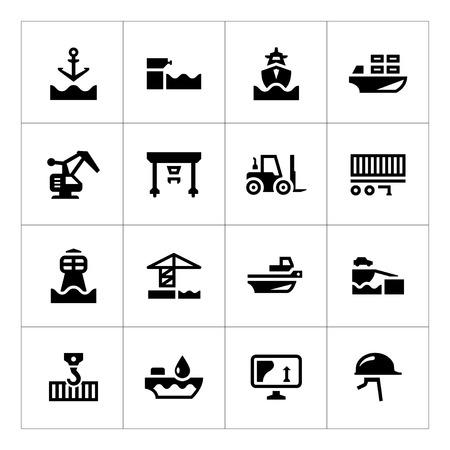 Set iconen van de zeehaven op wit wordt geïsoleerd Stock Illustratie