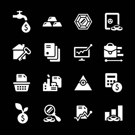 Set icons of investment and finance isolated on black Vector