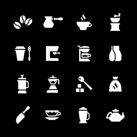 Set iconen van koffie geïsoleerd op zwart Stock Illustratie