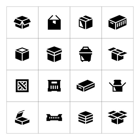 crates: Set icons of box isolated on white