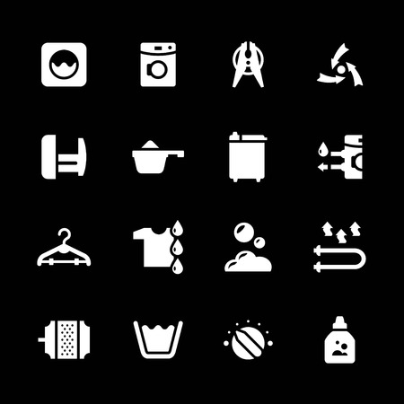 bleach: Set icons of laundry isolated on black