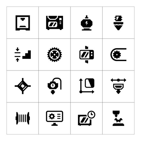 additive: Set icons of 3D printing isolated on white