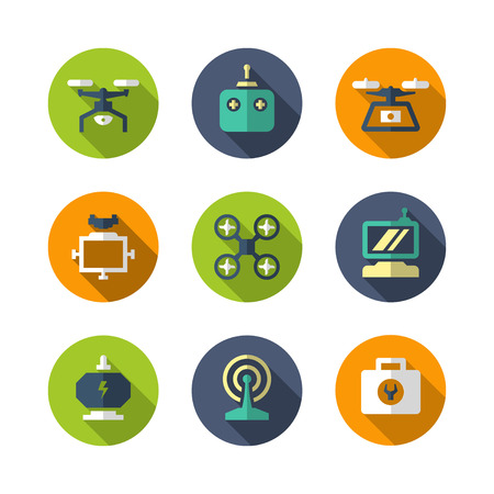Set flat icons of quadrocopter, hexacopter, multicopter and drone isolated on white