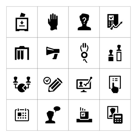 Set icons of elections isolated on white Vector