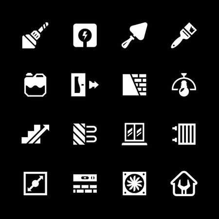concrete stairs: Set icons of repair and building isolated on black Illustration