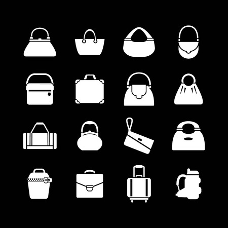 Set icons of bags isolated on black Vector