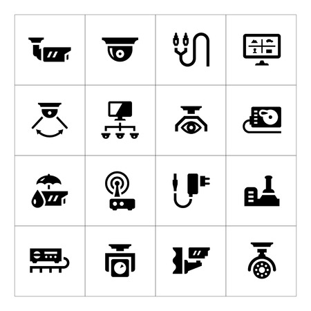Set icons of video surveillance isolated on white Vettoriali