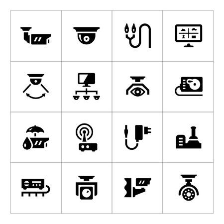 Set iconen van videobewaking op wit wordt geïsoleerd Stock Illustratie