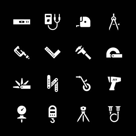 measuring instruments: Set icons of measuring tools isolated on black