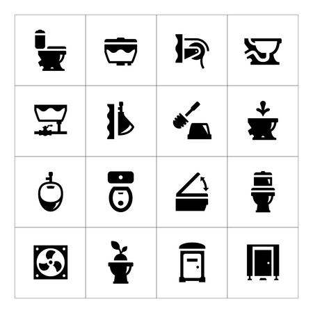 flush toilet: Set icons of toilet isolated on white
