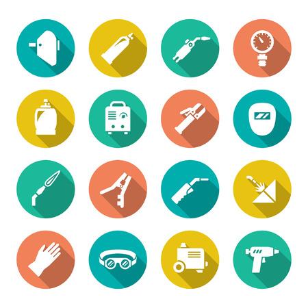 Set flat icons of welding isolated on white