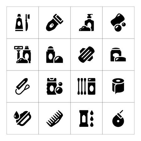 aseo personal: Fije los iconos de la higiene aislados en blanco
