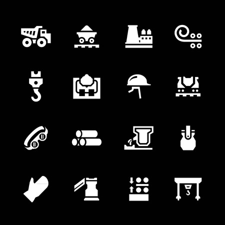 Set icons of metallurgy isolated on black Vector