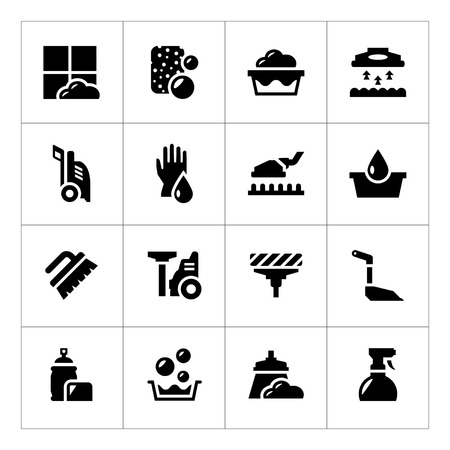 water sanitation: Set icons of cleaning isolated on white Illustration