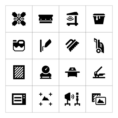 textile industry: Set icons of screen printing isolated on white