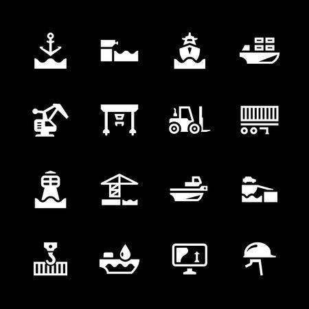 Set icons of seaport isolated on black Illustration