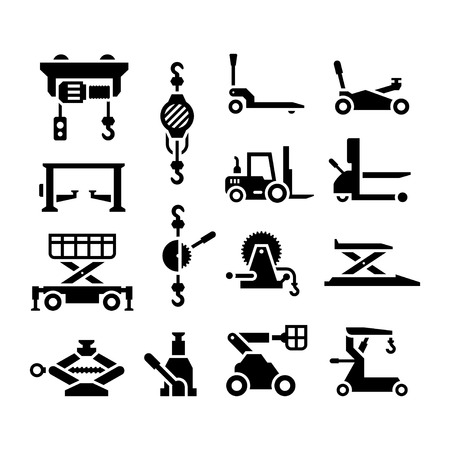 hydraulic: Set icons of lifting equipment isolated on white