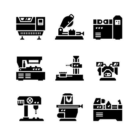 maquinaria: Fije los iconos de la máquina-herramienta aisladas en blanco Vectores