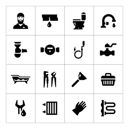 plumbing accessories: Set icons of plumbing isolated on white Illustration